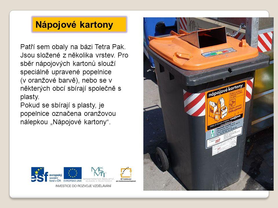 Nápojové kartony Patří sem obaly na bázi Tetra Pak. Jsou složené z několika vrstev. Pro sběr nápojových kartonů slouží speciálně upravené popelnice.