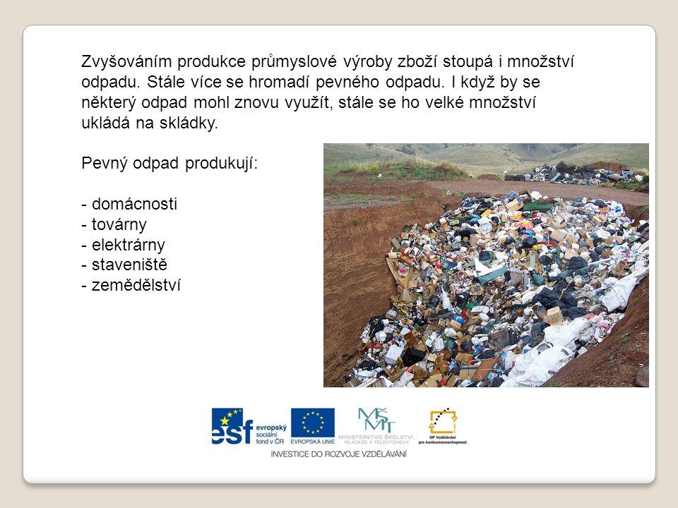 Zvyšováním produkce průmyslové výroby zboží stoupá i množství odpadu