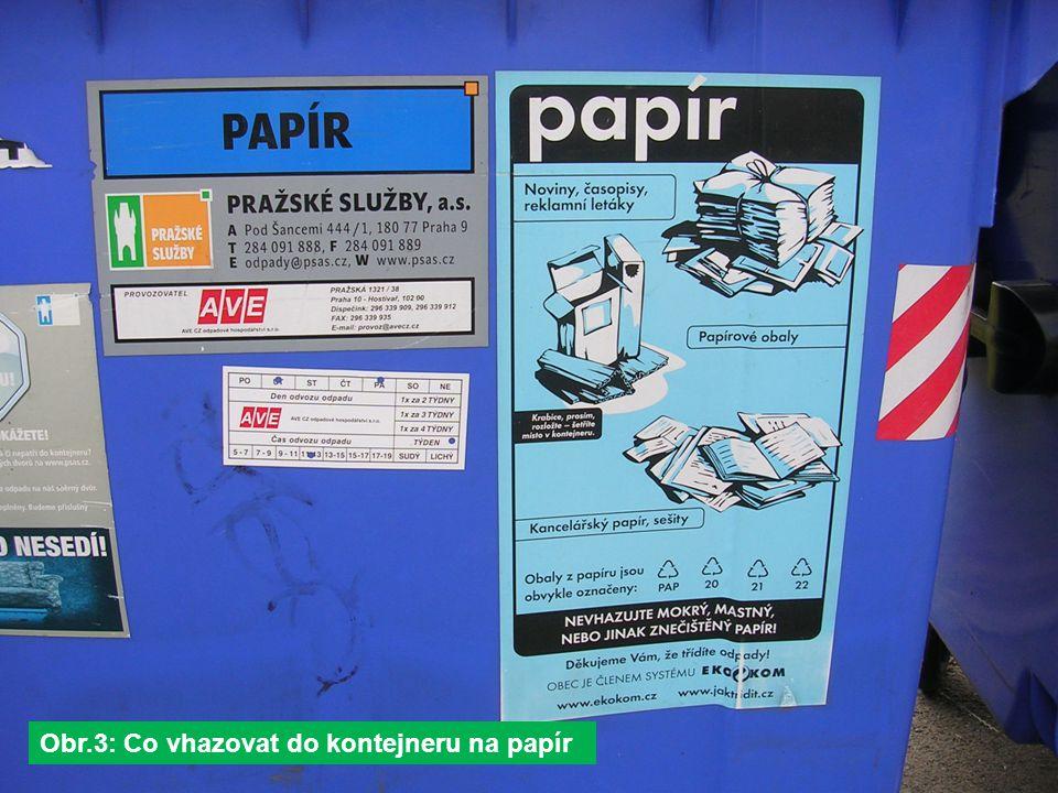 Obr.3: Co vhazovat do kontejneru na papír
