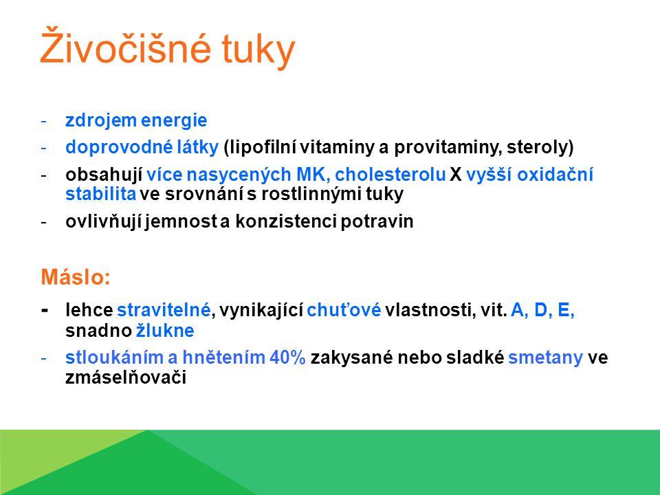 Živočišné tuky zdrojem energie. doprovodné látky (lipofilní vitaminy a provitaminy, steroly)