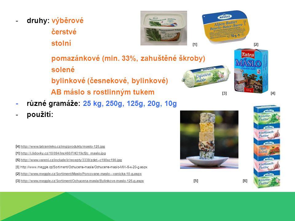 pomazánkové (min. 33%, zahuštěné škroby) solené