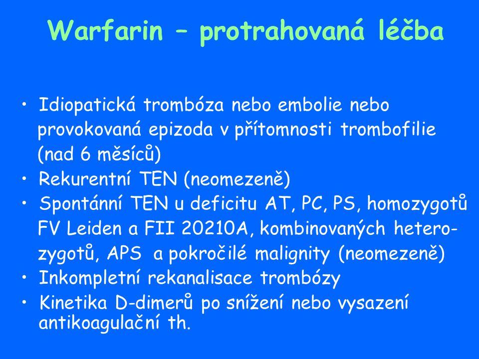Warfarin – protrahovaná léčba