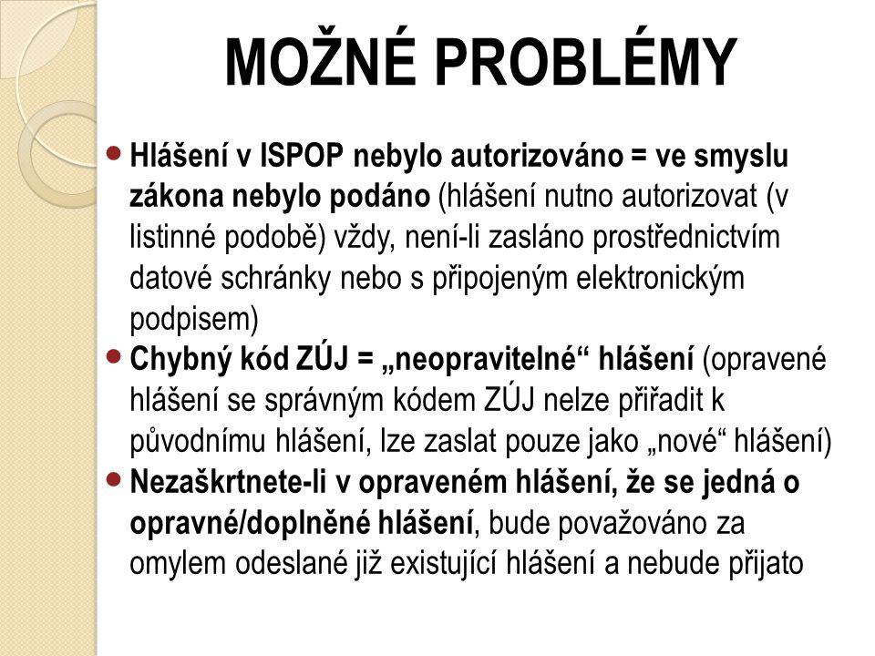 MOŽNÉ PROBLÉMY