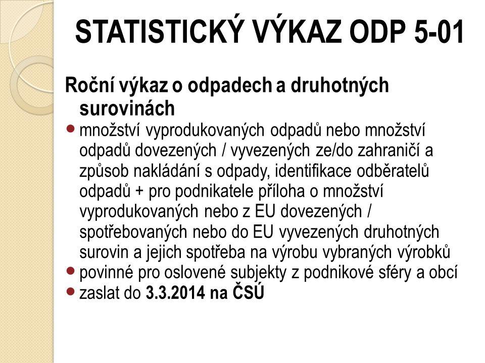 STATISTICKÝ VÝKAZ ODP 5-01