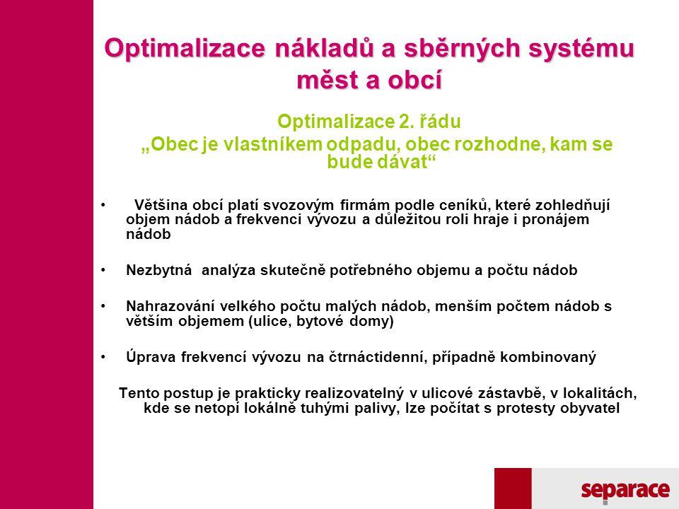 Optimalizace nákladů a sběrných systému měst a obcí