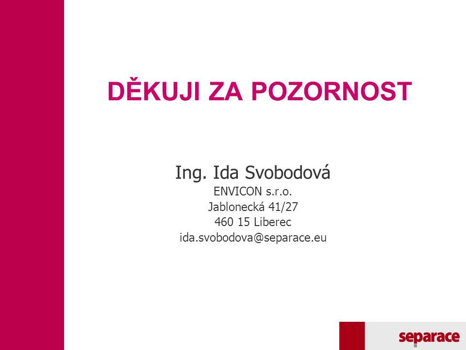DĚKUJI ZA POZORNOST Ing. Ida Svobodová ENVICON s.r.o. Jablonecká 41/27