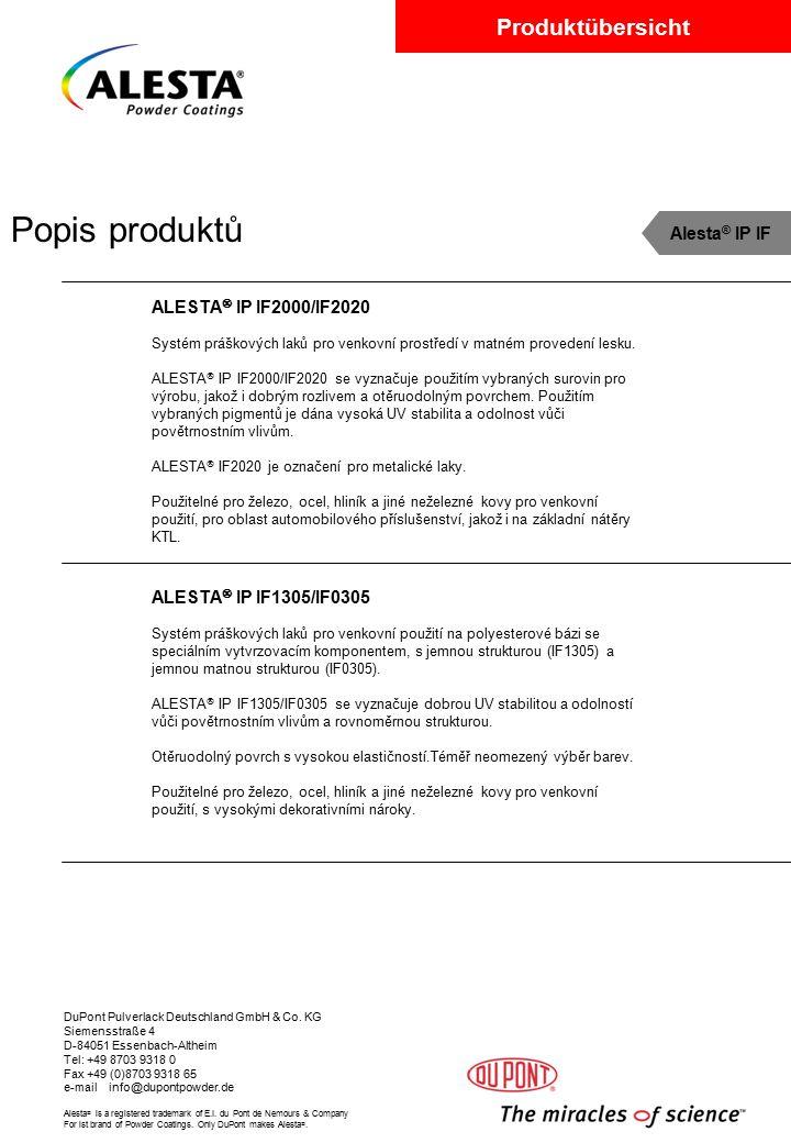 Popis produktů Alesta® IP IF ALESTA IP IF2000/IF2020