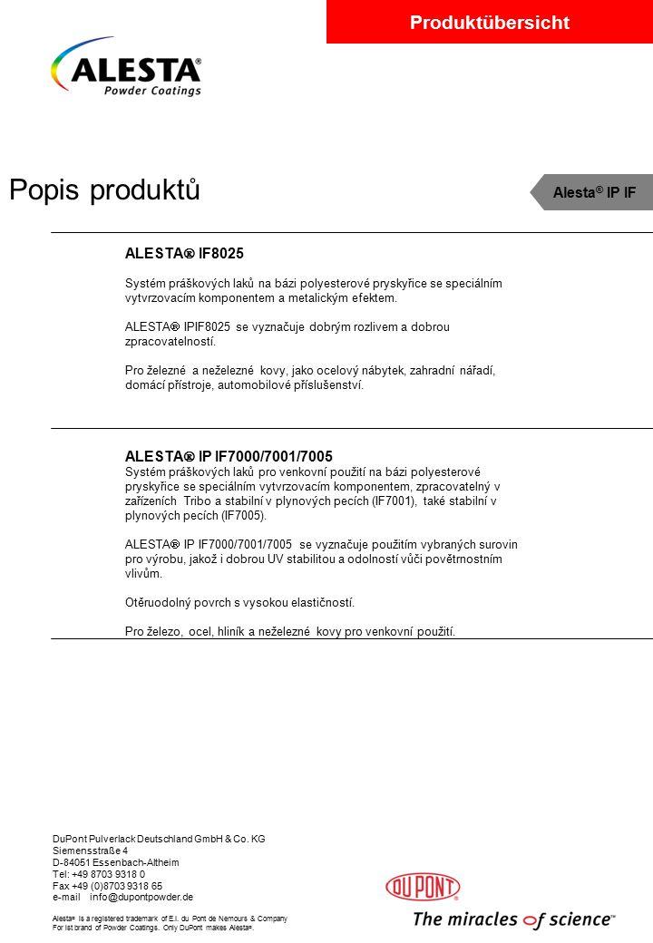 Popis produktů Alesta® IP IF ALESTA IF8025