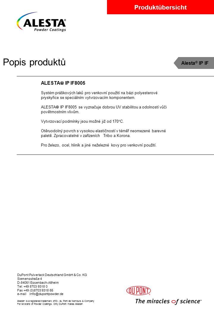 Popis produktů Alesta® IP IF ALESTA IP IF8005