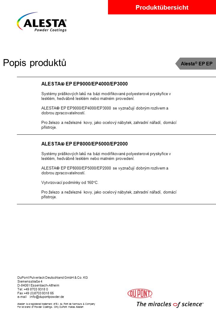 Popis produktů Alesta® EP EP ALESTA EP EP9000/EP4000/EP3000