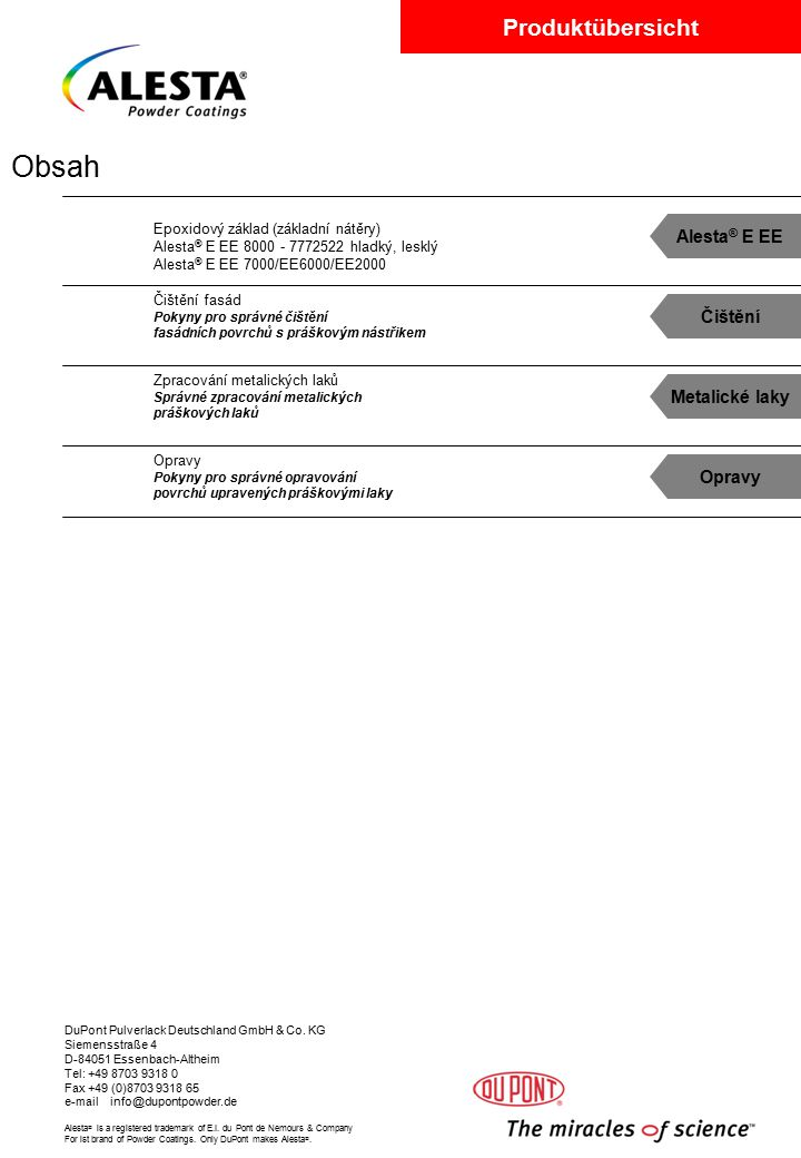 Obsah Alesta® E EE Čištění Metalické laky Opravy