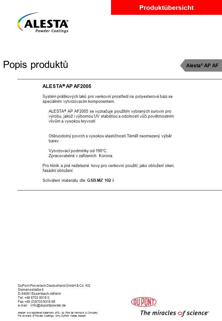Popis produktů Alesta® AP AF ALESTA AP AF2005