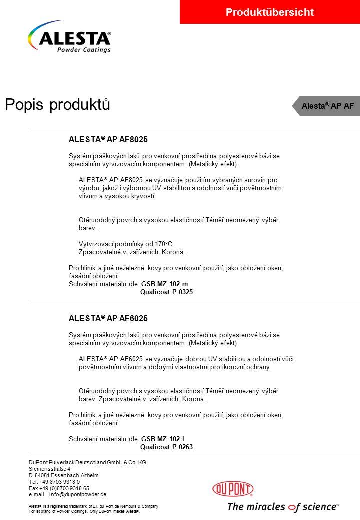 Popis produktů Alesta® AP AF ALESTA AP AF8025 ALESTA AP AF6025