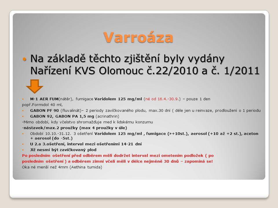 Varroáza Na základě těchto zjištění byly vydány Nařízení KVS Olomouc č.22/2010 a č. 1/2011.