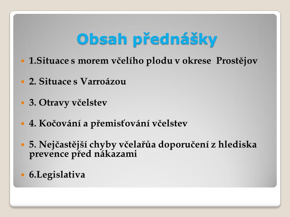 Obsah přednášky 1.Situace s morem včelího plodu v okrese Prostějov
