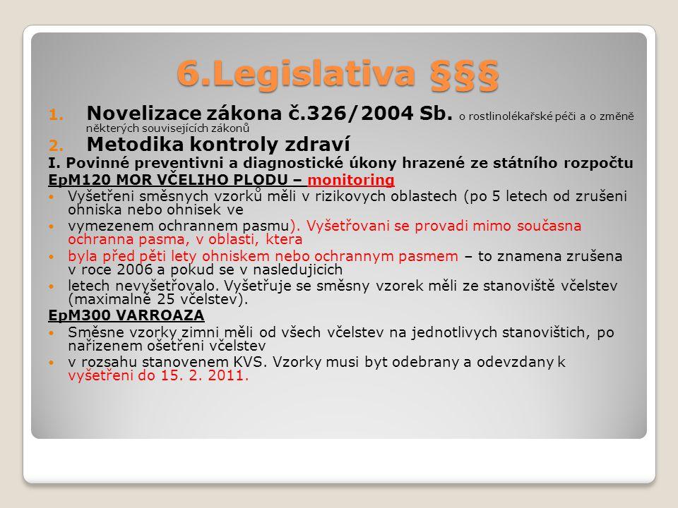 6.Legislativa §§§ Novelizace zákona č.326/2004 Sb. o rostlinolékařské péči a o změně některých souvisejících zákonů.