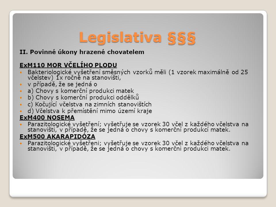 Legislativa §§§ II. Povinné úkony hrazené chovatelem