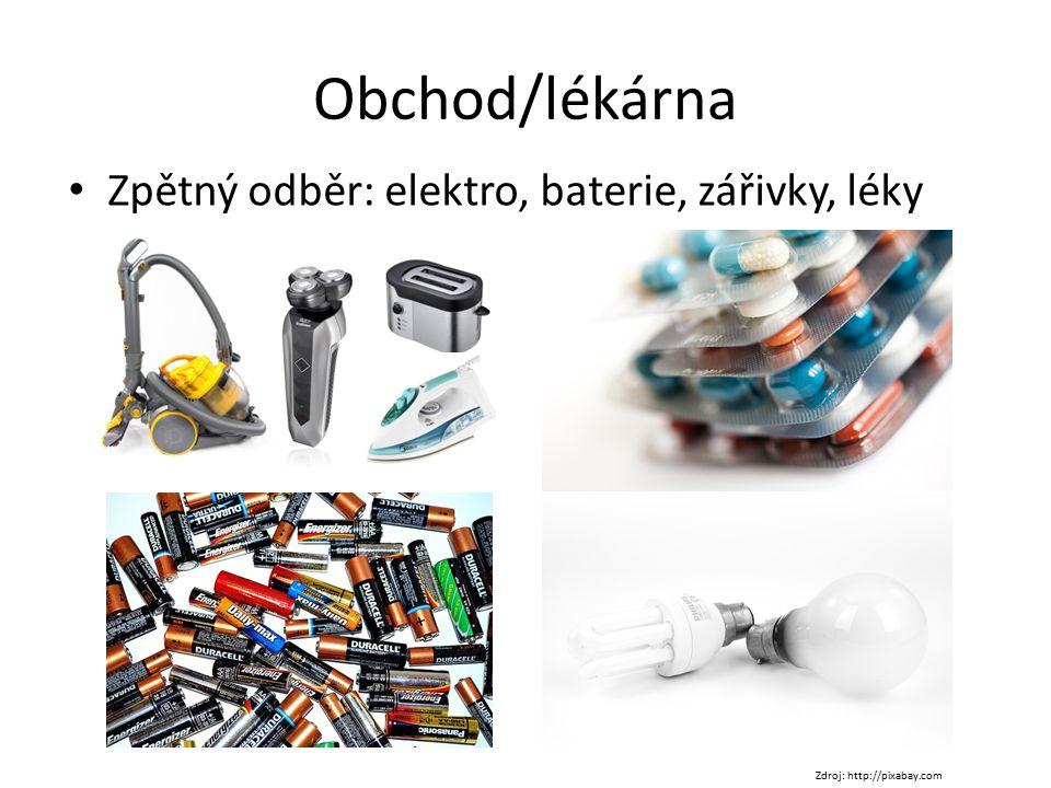 Obchod/lékárna Zpětný odběr: elektro, baterie, zářivky, léky
