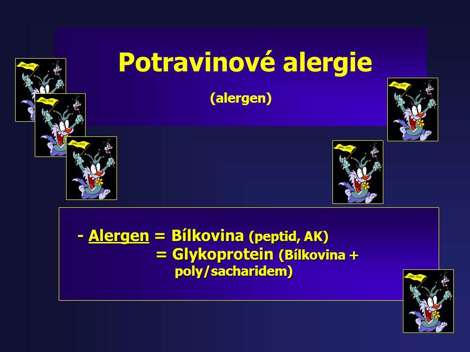 Potravinové alergie - Alergen = Bílkovina (peptid, AK)