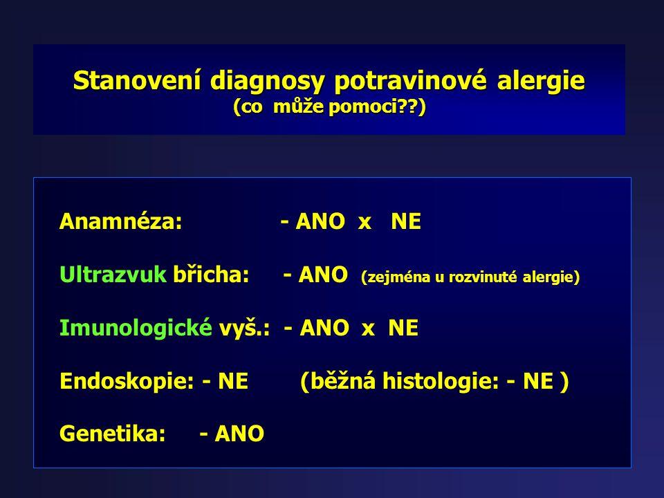 Stanovení diagnosy potravinové alergie