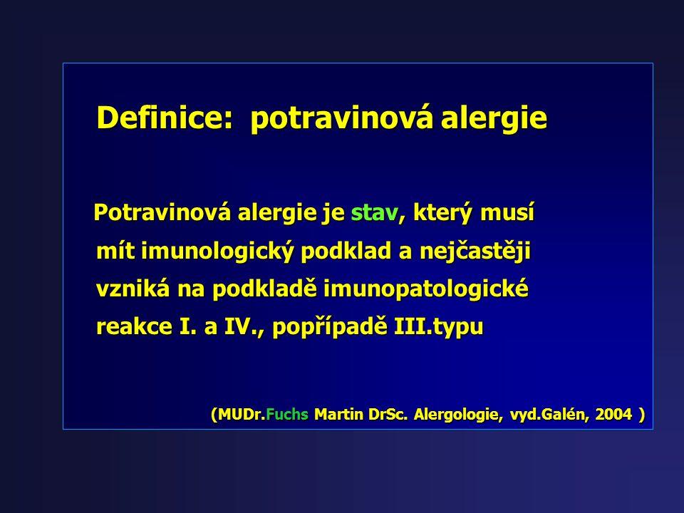 Definice: potravinová alergie