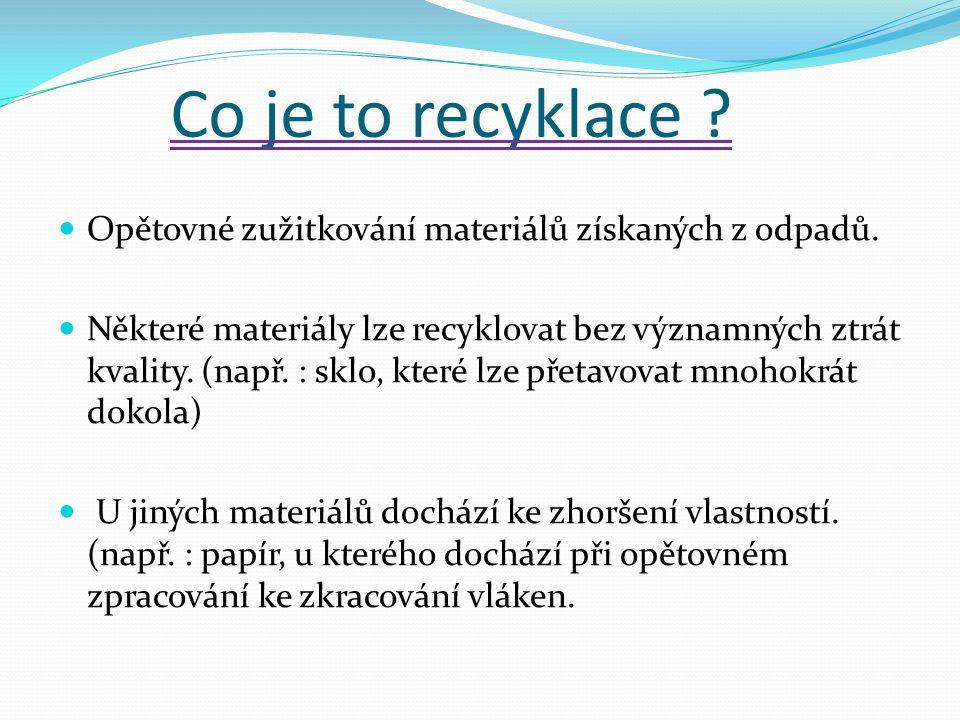 Co je to recyklace Opětovné zužitkování materiálů získaných z odpadů.