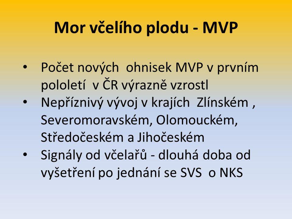 Mor včelího plodu - MVP Počet nových ohnisek MVP v prvním pololetí v ČR výrazně vzrostl.