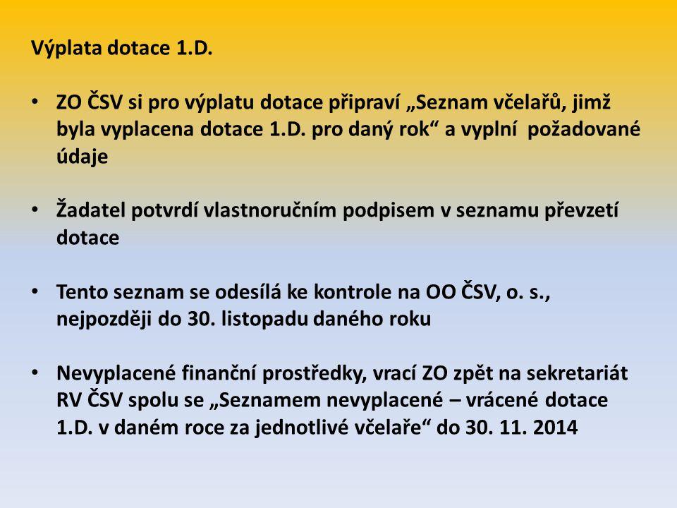 """Výplata dotace 1.D. ZO ČSV si pro výplatu dotace připraví """"Seznam včelařů, jimž byla vyplacena dotace 1.D. pro daný rok a vyplní požadované údaje."""