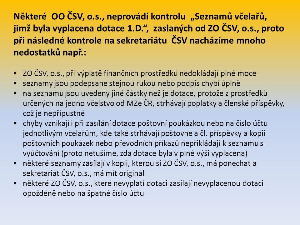 """Některé OO ČSV, o.s., neprovádí kontrolu """"Seznamů včelařů, jimž byla vyplacena dotace 1.D. , zaslaných od ZO ČSV, o.s., proto při následné kontrole na sekretariátu ČSV nacházíme mnoho nedostatků např.:"""