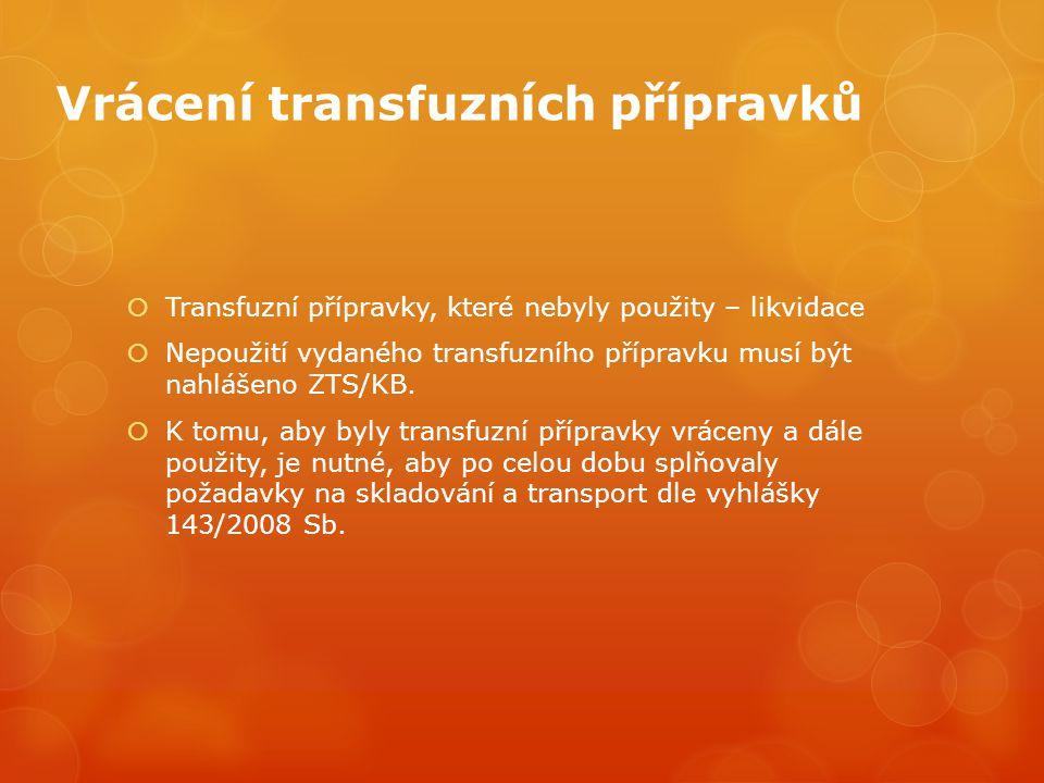 Vrácení transfuzních přípravků