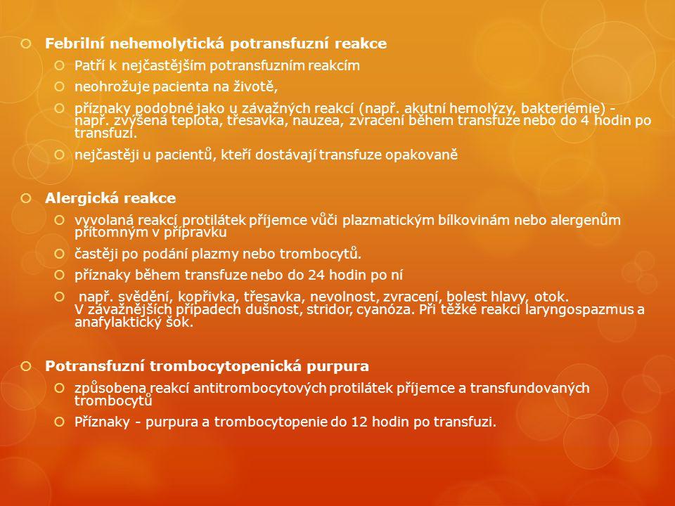 Febrilní nehemolytická potransfuzní reakce