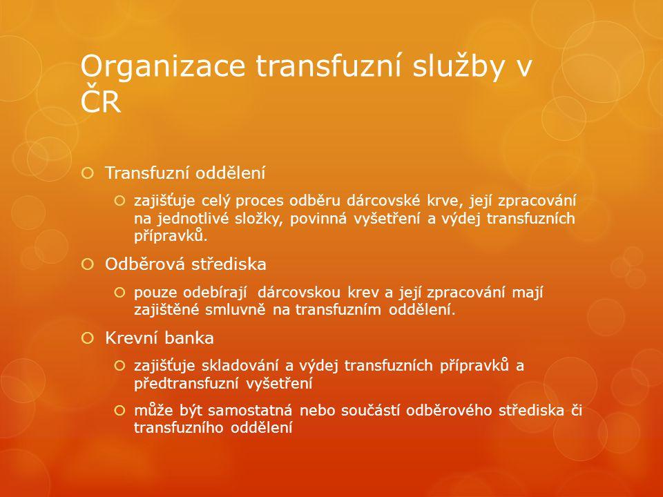 Organizace transfuzní služby v ČR