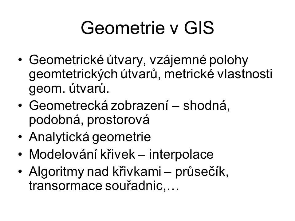Geometrie v GIS Geometrické útvary, vzájemné polohy geomtetrických útvarů, metrické vlastnosti geom. útvarů.