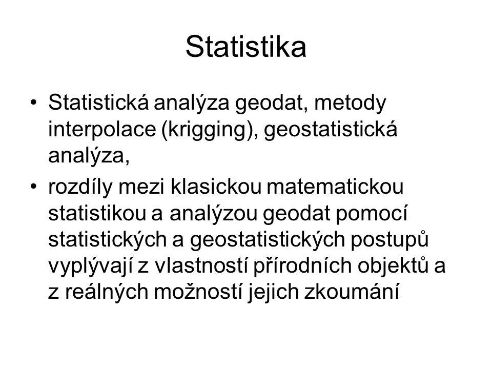 Statistika Statistická analýza geodat, metody interpolace (krigging), geostatistická analýza,