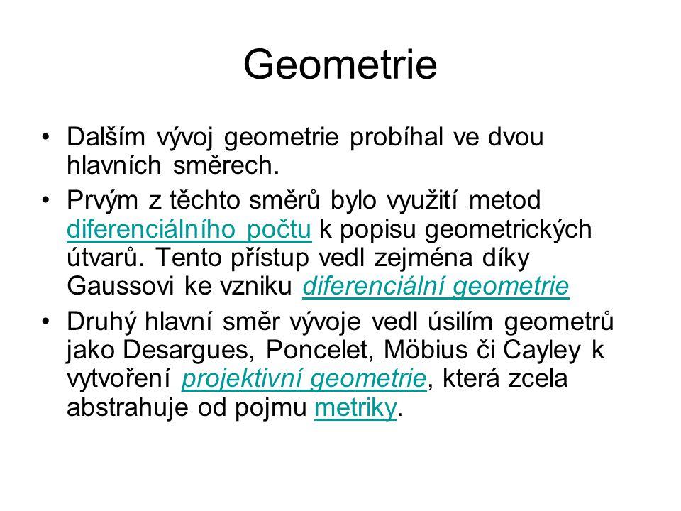 Geometrie Dalším vývoj geometrie probíhal ve dvou hlavních směrech.