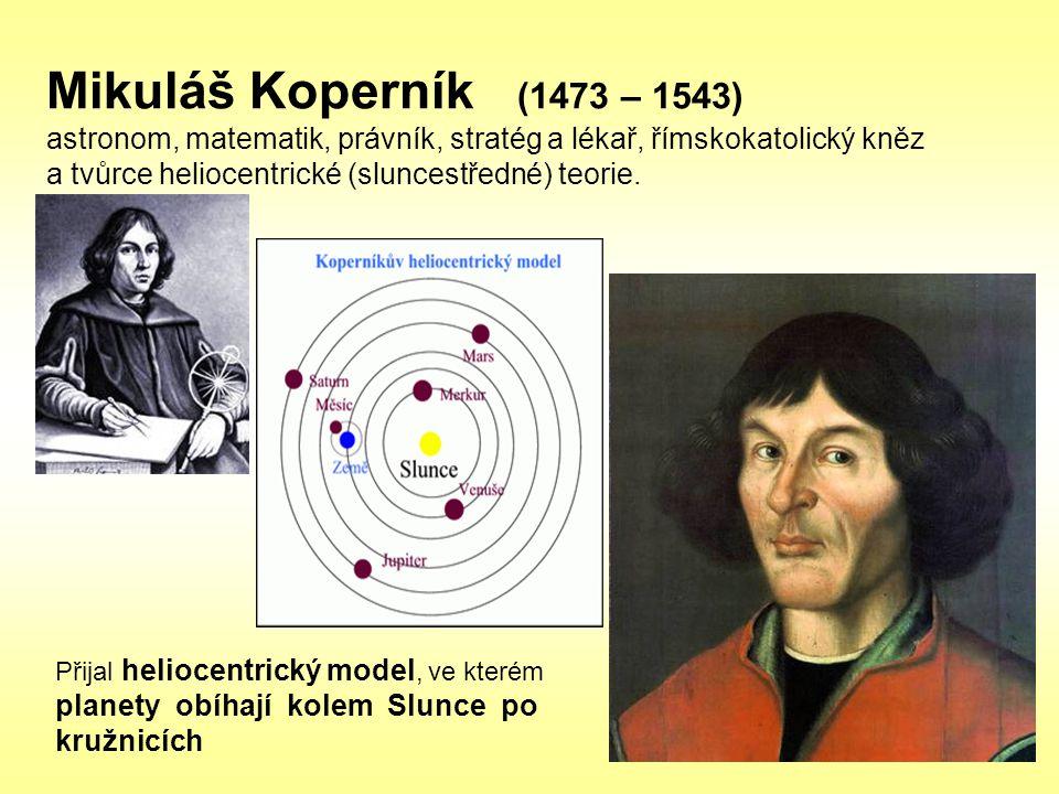 Mikuláš Koperník (1473 – 1543) astronom, matematik, právník, stratég a lékař, římskokatolický kněz a tvůrce heliocentrické (sluncestředné) teorie.