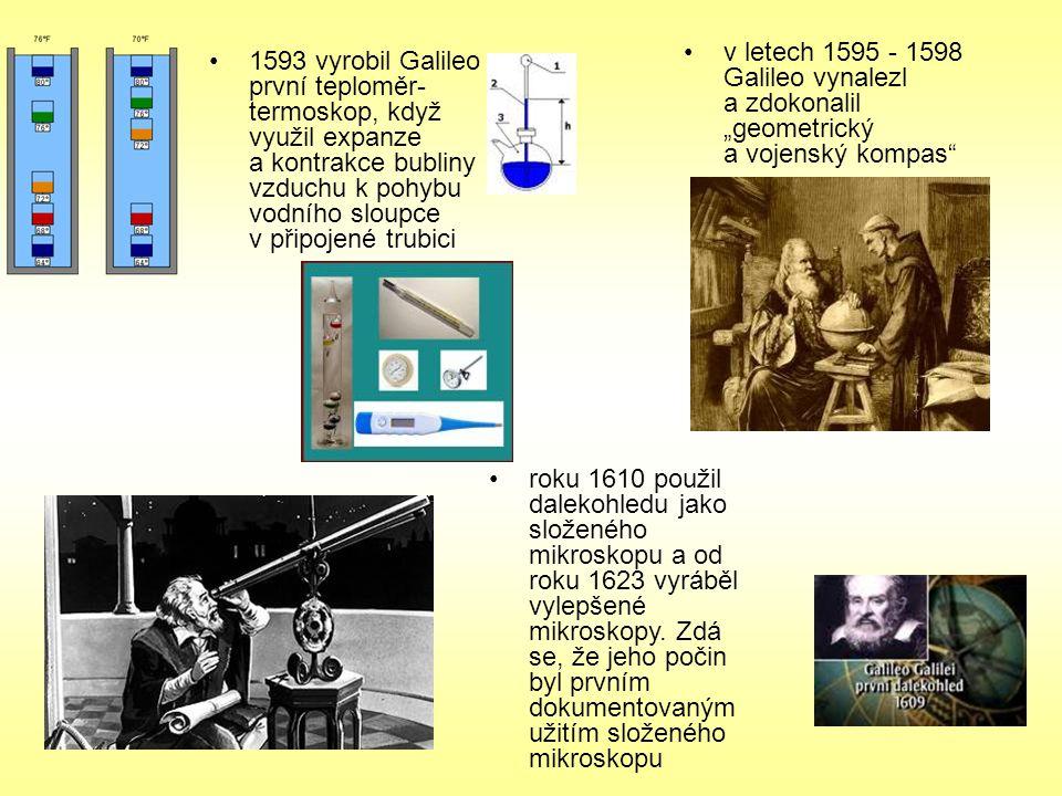 "v letech 1595 - 1598 Galileo vynalezl a zdokonalil ""geometrický a vojenský kompas"