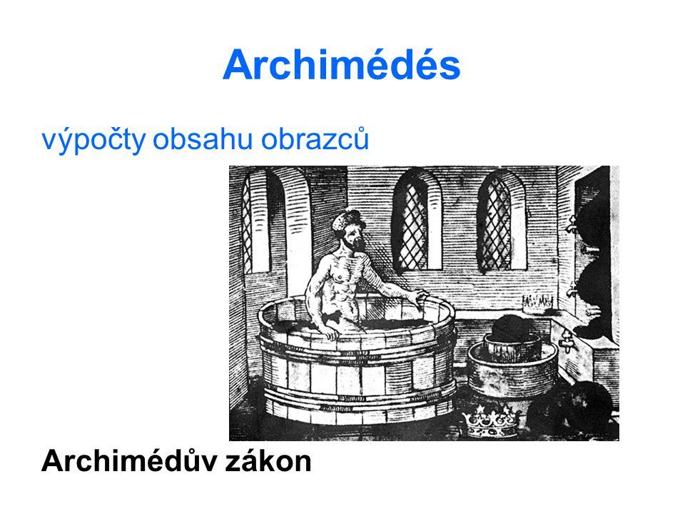 Archimédés výpočty obsahu obrazců Archimédův zákon