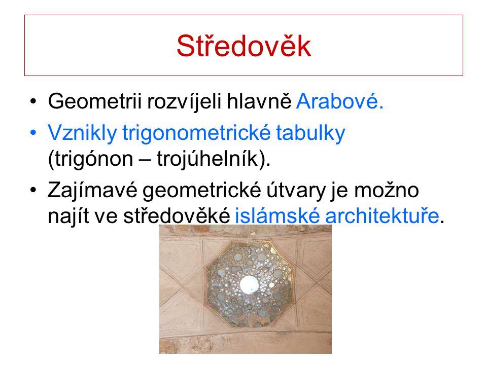 Středověk Geometrii rozvíjeli hlavně Arabové.