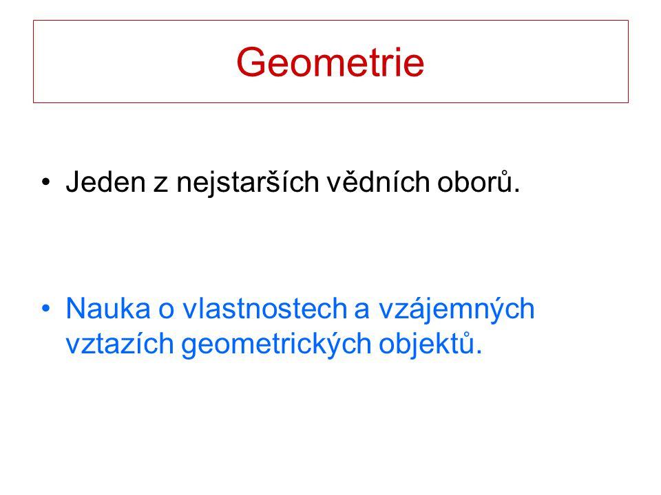 Geometrie Jeden z nejstarších vědních oborů.