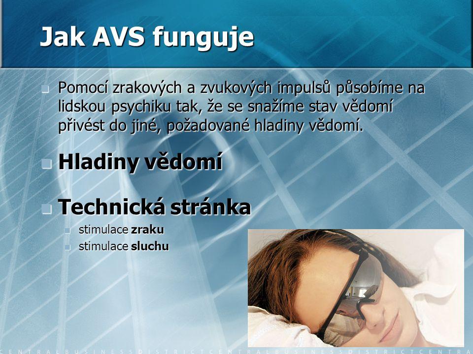 Jak AVS funguje Hladiny vědomí Technická stránka