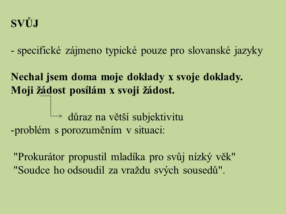 SVŮJ specifické zájmeno typické pouze pro slovanské jazyky. Nechal jsem doma moje doklady x svoje doklady.