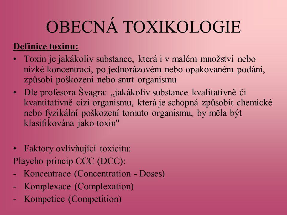 OBECNÁ TOXIKOLOGIE Definice toxinu: