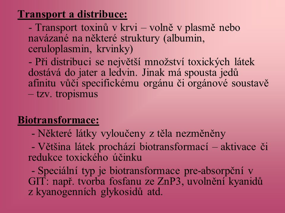 Transport a distribuce:
