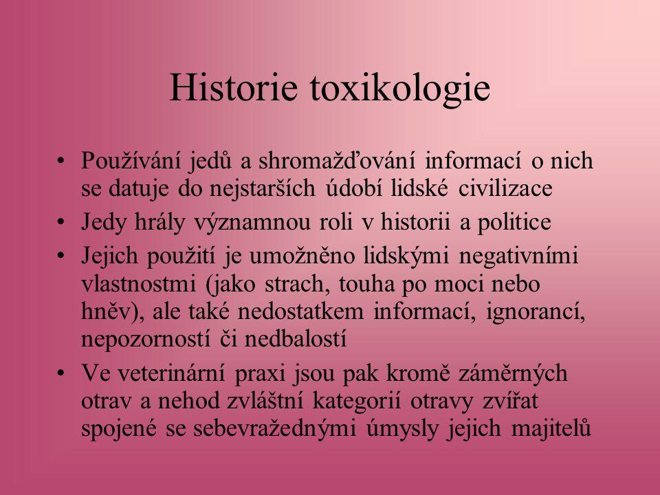 Historie toxikologie Používání jedů a shromažďování informací o nich se datuje do nejstarších údobí lidské civilizace.