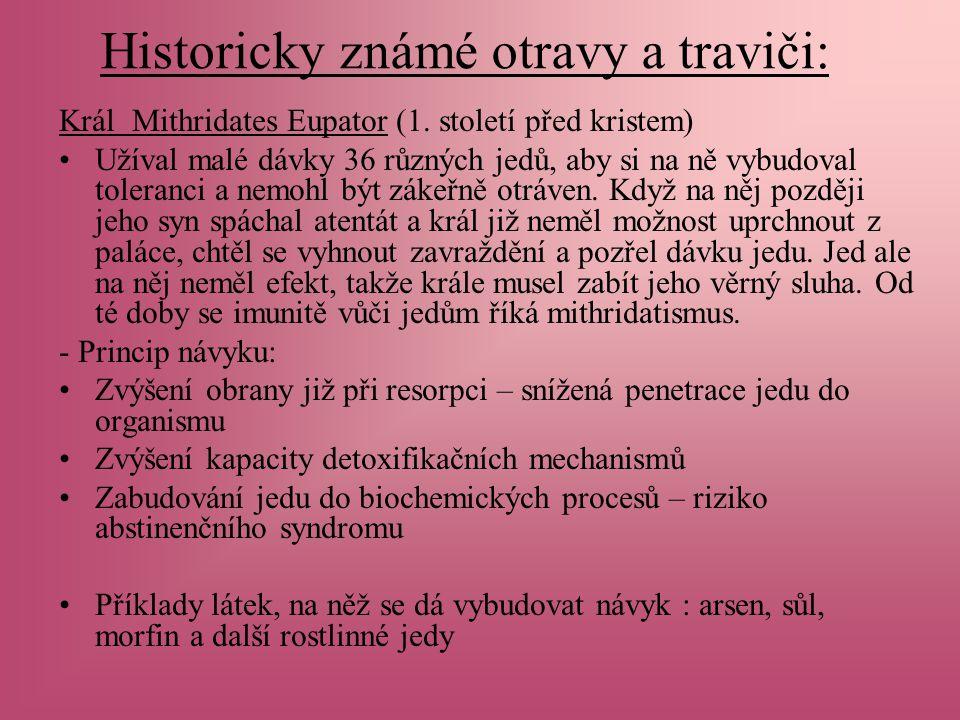 Historicky známé otravy a traviči: