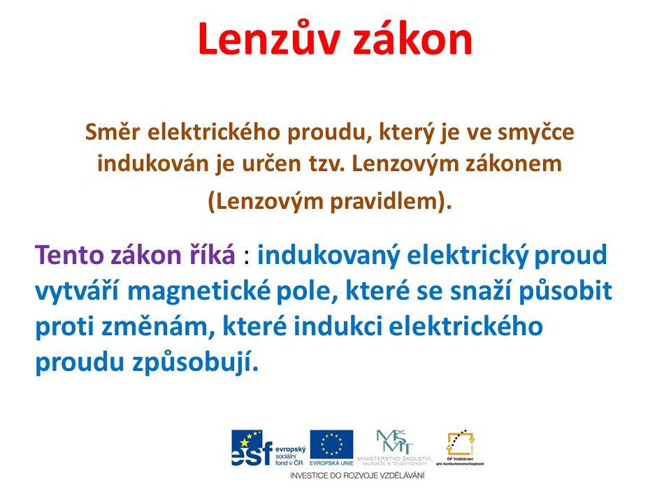 Lenzův zákon Směr elektrického proudu, který je ve smyčce indukován je určen tzv. Lenzovým zákonem.
