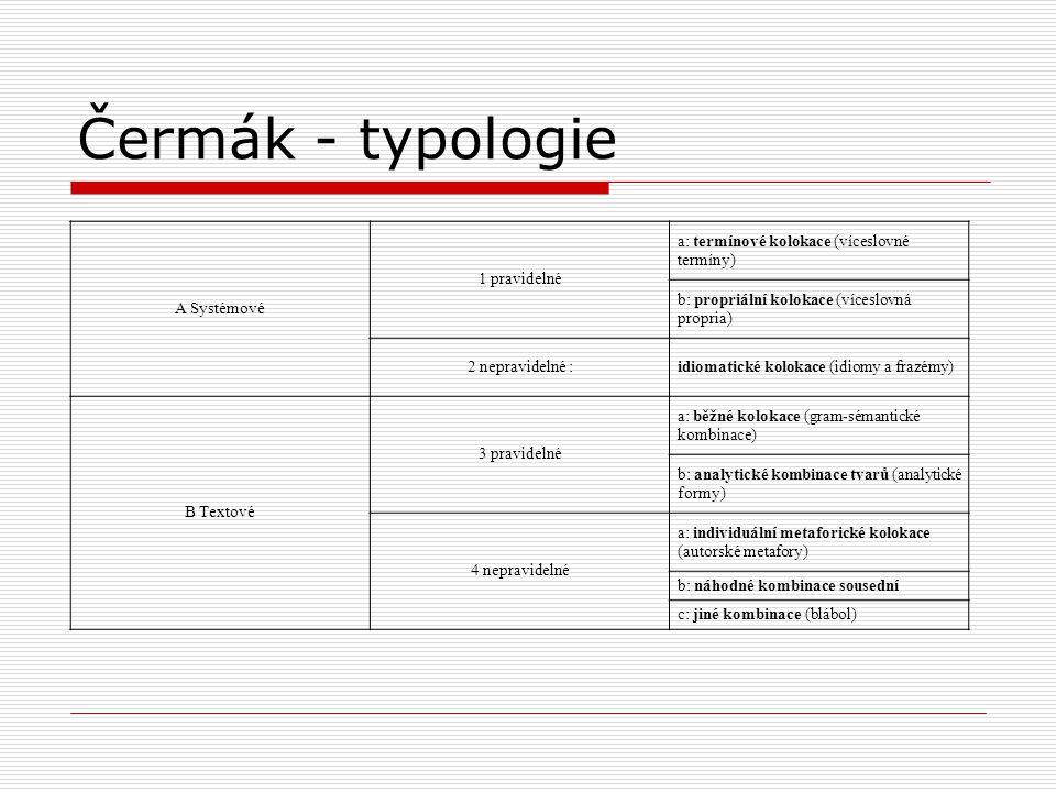 Čermák - typologie A Systémové 1 pravidelné