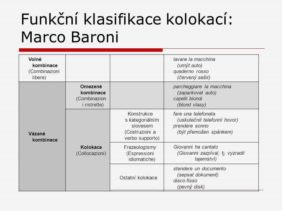 Funkční klasifikace kolokací: Marco Baroni