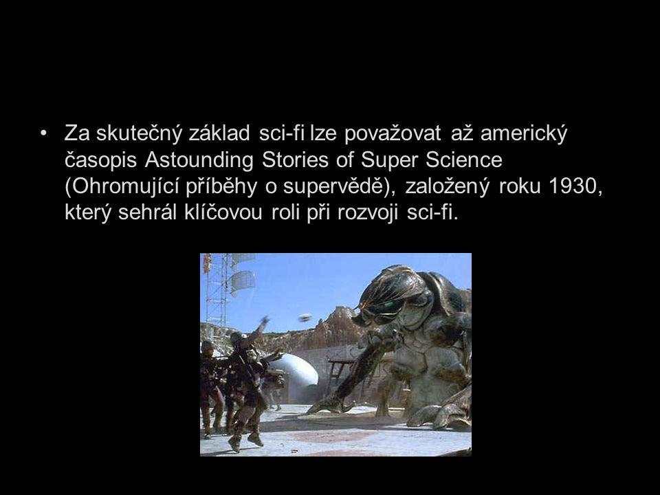 Za skutečný základ sci-fi lze považovat až americký časopis Astounding Stories of Super Science (Ohromující příběhy o supervědě), založený roku 1930, který sehrál klíčovou roli při rozvoji sci-fi.